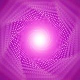 Dirigez le tunnel infini des fusées brillantes sur le fond violet avec la profondeur du champ Tunnel rougeoyant de forme de point illustration libre de droits