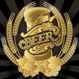 Dirigez le verre de bière sur le fond noir pour le menu illustration libre de droits
