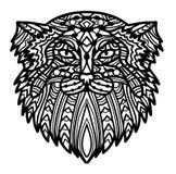 Dirigez le visage tiré par la main Manul de chat avec l'illustration modelée par griffonnage ethnique Images stock
