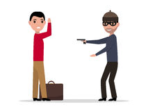 Dirigez le voleur de bande dessinée avec une arme à feu volant un homme Photo stock