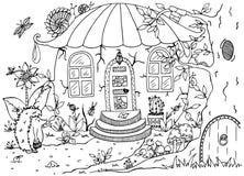 Dirigez le zentagl d'illustration, le hérisson et une maison dans le dessin de griffonnage de forêt Photo libre de droits