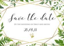 Dirigez les économies florales de mariage botanique la date, invitez l'elega de carte illustration libre de droits