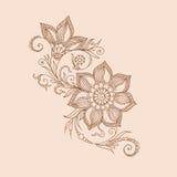 Dirigez les éléments floraux abstraits dans le style mehendy indien Abstrac Photographie stock