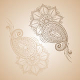 Dirigez les éléments floraux abstraits dans le style mehendy indien Abstrac Image libre de droits