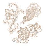 Dirigez les éléments floraux abstraits dans le style mehendy indien Abstrac Photo stock