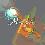 Dirigez les éléments magiques croisés médiévaux de personnel et de spellbook de concepteur du jeu de style de bande dessinée d'im Photographie stock libre de droits