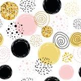 Dirigez les éléments tirés par la main d'or d'abrégé sur point de polka de modèle, roses, noirs décorés par ornement sans couture illustration libre de droits