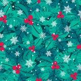 Dirigez les baies bleues, rouges, blanches de houx et les vacances de flocons de neige Image libre de droits