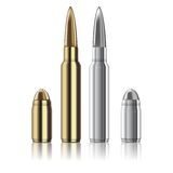 Dirigez les balles de fusil et de pistolet d'isolement sur le blanc Photographie stock libre de droits