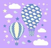 Dirigez les ballons à air chauds avec des baleines, les étoiles, nuages sur le fond violet en pastel Papier peint, autocollants d illustration de vecteur