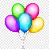 Dirigez les ballons colorés, décoration d'anniversaire d'isolement sur le fond transparent illustration stock