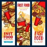 Dirigez les bannières d'aliments de préparation rapide pour le restaurant d'aliments de préparation rapide Photos libres de droits