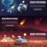 Dirigez les bannières d'illustration des vaisseaux spatiaux l'exploration, planètes étrangères de vol spatial dans l'espace extra illustration stock