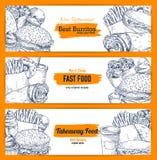 Dirigez les bannières de croquis de casse-croûte de nourriture de rue d'aliments de préparation rapide Illustration de Vecteur