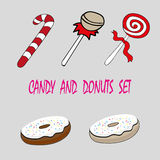 Dirigez les bonbons sucrerie et butées toriques à éléments de nourriture de scénographie illustration de vecteur
