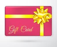 Dirigez les bons de cadeau avec des rubans de jaune d'or d'arc, et les milieux rouges Cartes ou bannières créatives de vacances C illustration de vecteur
