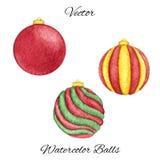 Dirigez les boules de Noël d'aquarelle de l'ensemble de couleurs rouge, vert et jaune d'isolement sur le fond blanc Photographie stock libre de droits
