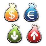 Dirigez les boutons du symbole d'argent Photos libres de droits