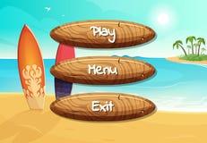 Dirigez les boutons en bois de style de bande dessinée avec le texte pour le concepteur du jeu sur des planches de surf sur le fo illustration stock
