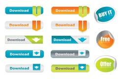 Dirigez les boutons et les collants de téléchargement Photos libres de droits