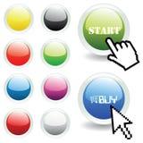 Dirigez les boutons lustrés avec la flèche indicatrice de souris et de main Image libre de droits