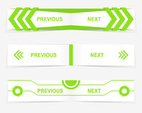 Dirigez les boutons précédents et prochains de navigation pour le web design fait sur commande Images stock