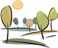Dirigez les côtes avec des arbres au jour ensoleillé d'automne Photographie stock