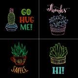 Dirigez les cactus décrits et le lettrage manuscrit sur le backgr noir Images libres de droits