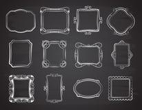 Dirigez les cadres de photo de portrait de griffonnage, boîte antique de croquis sur le tableau Photos stock
