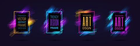 Dirigez les cadres modernes avec les lignes rougeoyantes au néon dynamiques d'isolement sur le fond noir Graphiques d'art avec l' illustration de vecteur