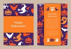 Dirigez les calibres de carte de Halloween avec des sorcières, potirons, fantômes, silhouettes d'araignées illustration libre de droits