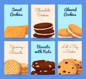 Dirigez les calibres de carte ou d'insecte réglés avec des biscuits de bande dessinée illustration stock