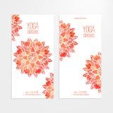 Dirigez les calibres des bannières avec le mandala rouge de fleur d'aquarelle Image libre de droits