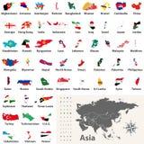Dirigez les cartes et les drapeaux de tous les pays asiatiques disposés dans l'ordre alphabétique illustration de vecteur