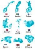 Dirigez les cartes et les drapeaux des pays de l'Europe avec des frontières de régions de divisions administratives illustration stock