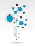 Dirigez les cercles de papier de l'illustration 3d en structure de molécule avec l'espace vide pour votre contenu Image stock