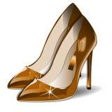 Dirigez les chaussures de femmes d'or de bande dessinée sur le fond blanc ENV Image stock