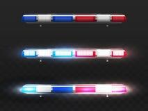 Dirigez les clignoteurs rouges et bleus réalistes pour la voiture de police illustration de vecteur