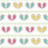 Dirigez les coeurs colorés de Paisley conçoivent sur le fond sans couture vert de modèle illustration libre de droits