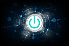 Dirigez les commutateurs dans un concept de technologie sur un fond bleu-foncé Images libres de droits