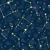 Dirigez les constellations bleu-foncé et jaunes d'étoiles avec tiré par la main Photo stock