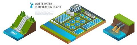 Dirigez les cuves de stockage isométriques dans l'installation de traitement d'eaux usées illustration de vecteur