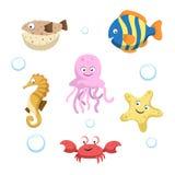 Dirigez les différents animaux mignons de mer et d'océan réglés Illustration d'isolement de vecteur illustration stock