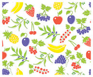 Dirigez les différents types des fruits et de baies délicieux Dans la couleur pure du mode CMYK Images libres de droits
