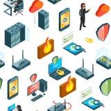 Dirigez les données et les icônes modèle de sécurité d'ordinateur ou l'illustration isométriques de fond illustration de vecteur