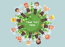 Dirigez les enfants de personnages de dessin animé d'illustration tenant des mains et la position en cercle avec l'herbe, les bui illustration libre de droits