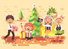 Dirigez les enfants, les garçons et les filles de personnages de dessin animé d'illustration dans la chambre sous l'arbre de Noël illustration libre de droits