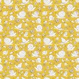 Dirigez les escargots tirés par la main jaunes et les fleurs répètent la texture de modèle Approprié à l'enveloppe, au textile et illustration libre de droits