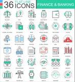Dirigez les finances et encaisser la ligne plate de couleur moderne icônes d'ensemble pour des apps et le web design Photographie stock libre de droits
