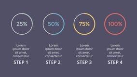 Dirigez les flèches de cercle infographic, pour cent de cycle diagram, graphique de statut, diagramme de présentation Photographie stock